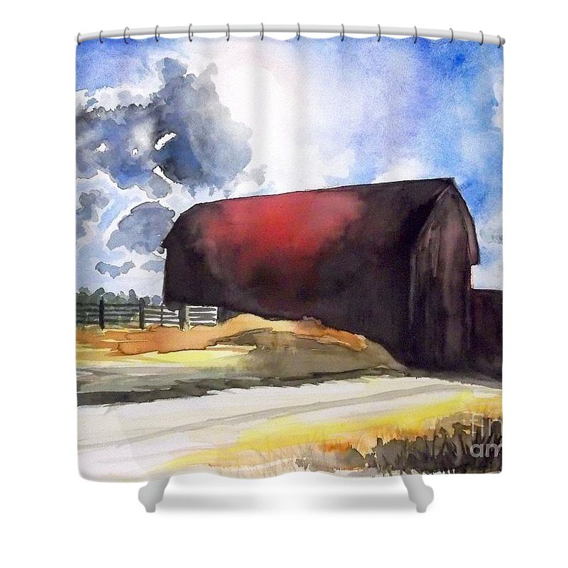 Landscape Shower Curtain featuring the painting On The Macon Road. - Saline Michigan by Yoshiko Mishina