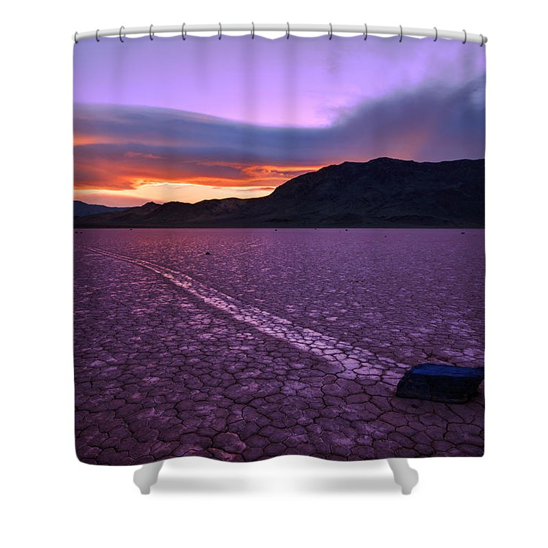 Death Valley Shower Curtain featuring the photograph On The Playa by Chad Dutson