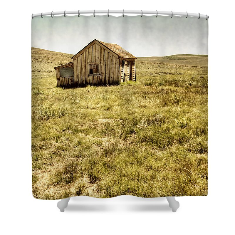 Barn; Shed; Wood; Wooden; Country; Countryside; Desert; Deserted; Worn; Abandoned; Boards; Ruins; Grasses; Hills; House; Home; Small; Sky Shower Curtain featuring the photograph On The Prairie by Margie Hurwich