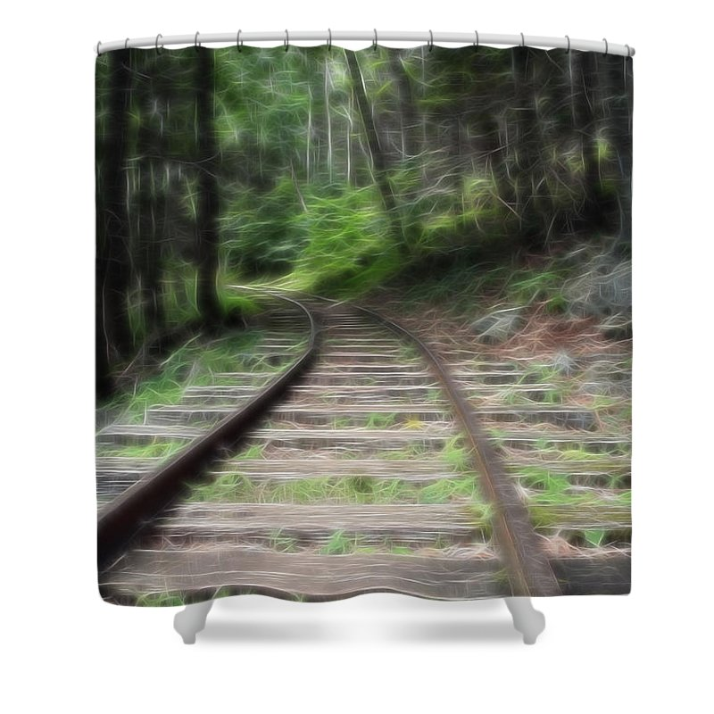 Transportation Shower Curtain featuring the mixed media Victorian Locomotive Tracks by Doc Braham