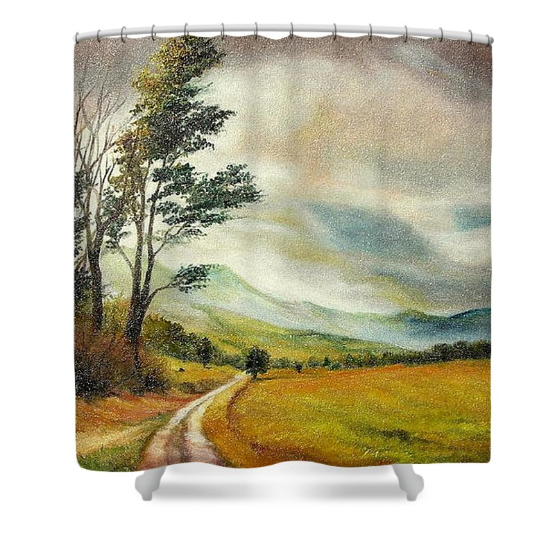 Autumn Shower Curtain featuring the painting On The Road by Sorin Apostolescu