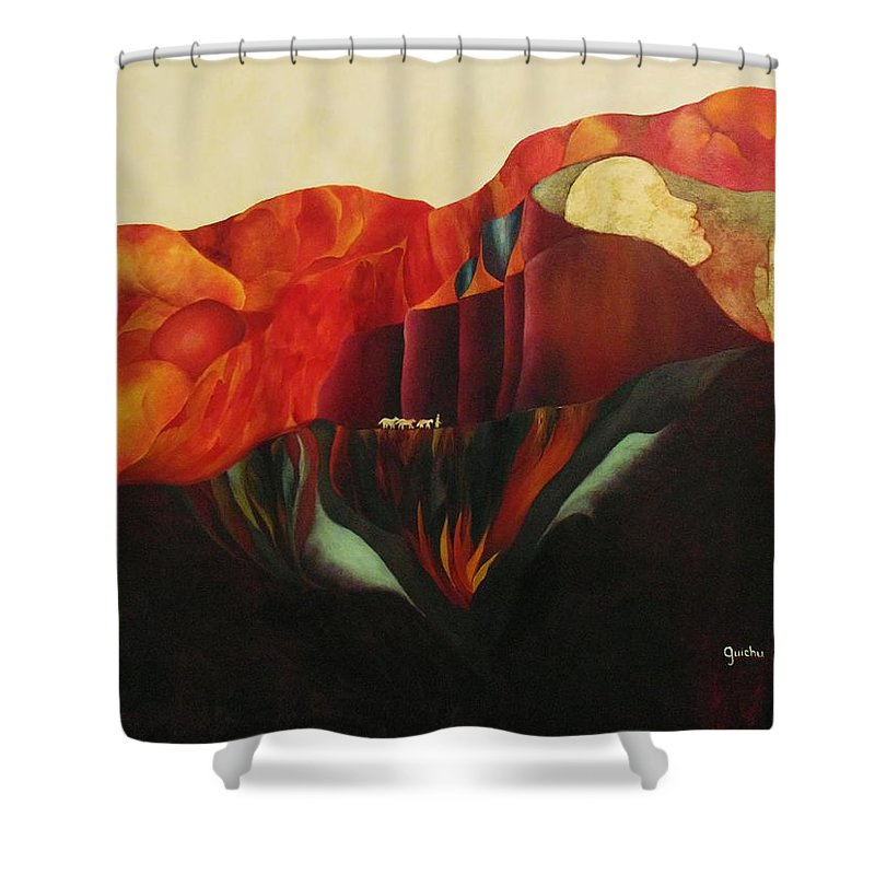 Oil Shower Curtain featuring the painting On The Road To Enlightenment by Peggy Guichu