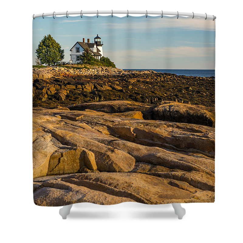 Prospect Harbor Point Light Shower Curtain featuring the photograph On The Rocks by Constance Sanders