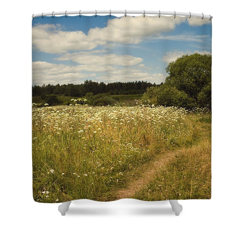 Meadow Shower Curtain featuring the photograph On The Summer Meadow II. Russia by Jenny Rainbow