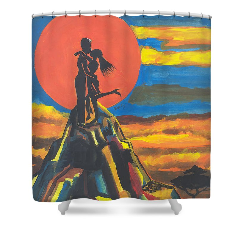 Art Shower Curtain featuring the painting On The Summit Of Love by Emmanuel Baliyanga