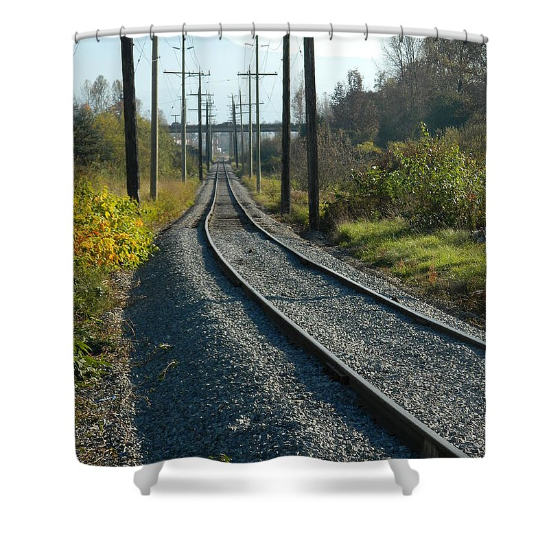 Railroad Shower Curtain featuring the photograph On The Tracks by Nicki Bennett