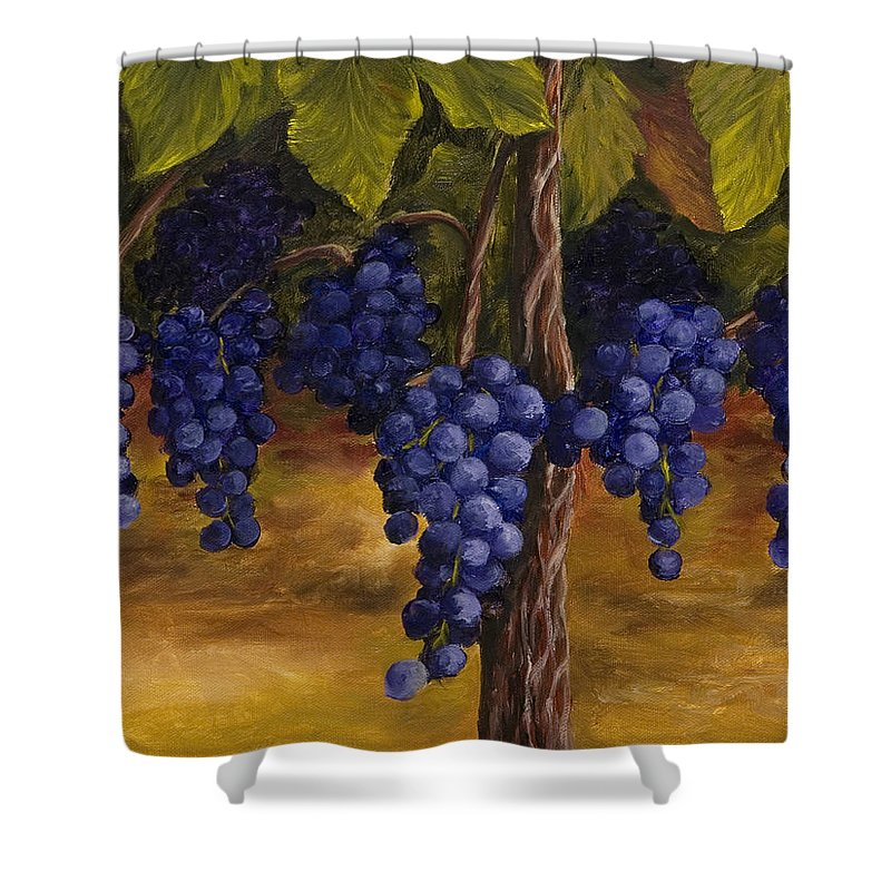 Kitchen Art Shower Curtain featuring the painting On The Vine by Darice Machel McGuire