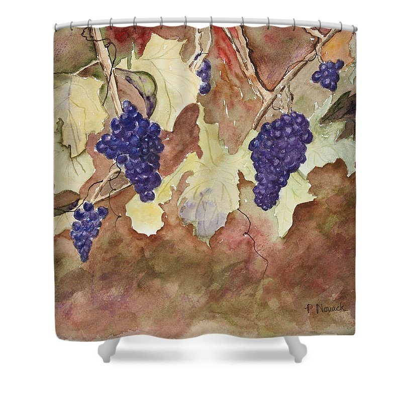 Grapes Shower Curtain featuring the painting On The Vine by Patricia Novack