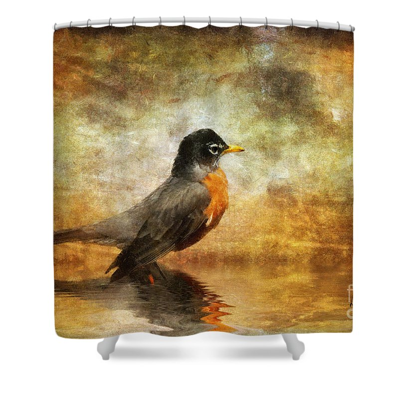 Robin Shower Curtain featuring the photograph On The Watch For Worms by Lois Bryan