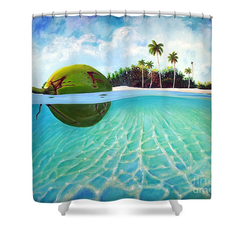 Coconut Shower Curtain featuring the painting On The Way by Jose Manuel Abraham