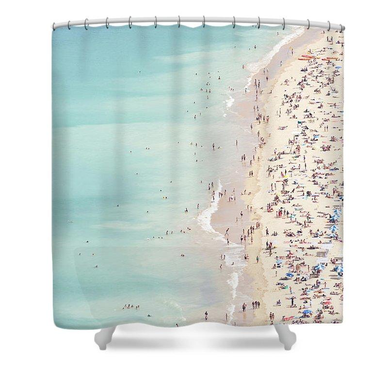 Water's Edge Shower Curtain featuring the photograph Ondarreta Beach, San Sebastian, Spain by John Harper