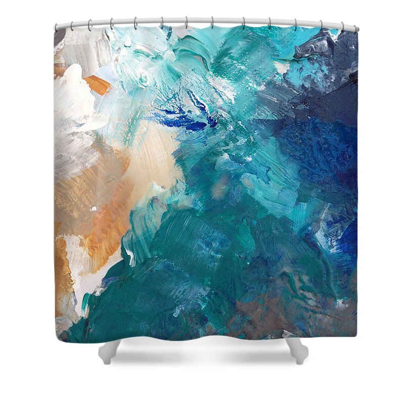 On A Summer Breeze Contemporary Abstract Art Shower Curtain For Sale By Linda Woods