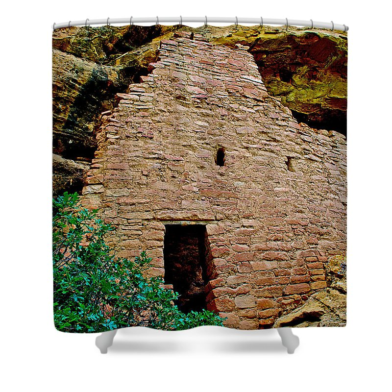 One Entry To Spruce Tree House On Chapin Mesa In Mesa Verde National Park-colorado Spruce Tree House On Chapin Mesa In Mesa Verde National Park Shower Curtain featuring the photograph One Entry To Spruce Tree House On Chapin Mesa In Mesa Verde National Park-colorado by Ruth Hager