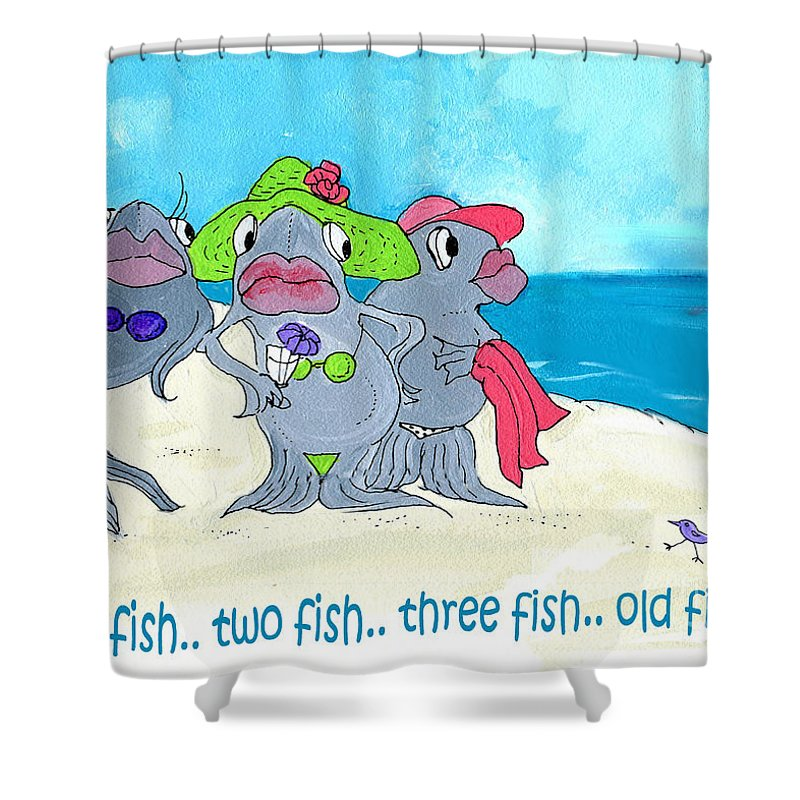 Fish Shower Curtain featuring the mixed media One Fish Two Fish by Lizi Beard-Ward