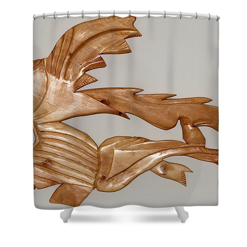 Extinct Fish Shower Curtain featuring the sculpture One Hungry Fish by Robert Margetts