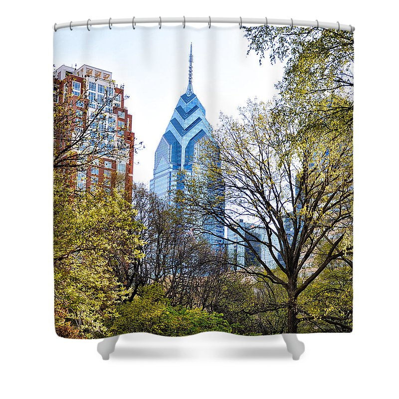 One Shower Curtain featuring the photograph One Liberty Place by Bill Cannon