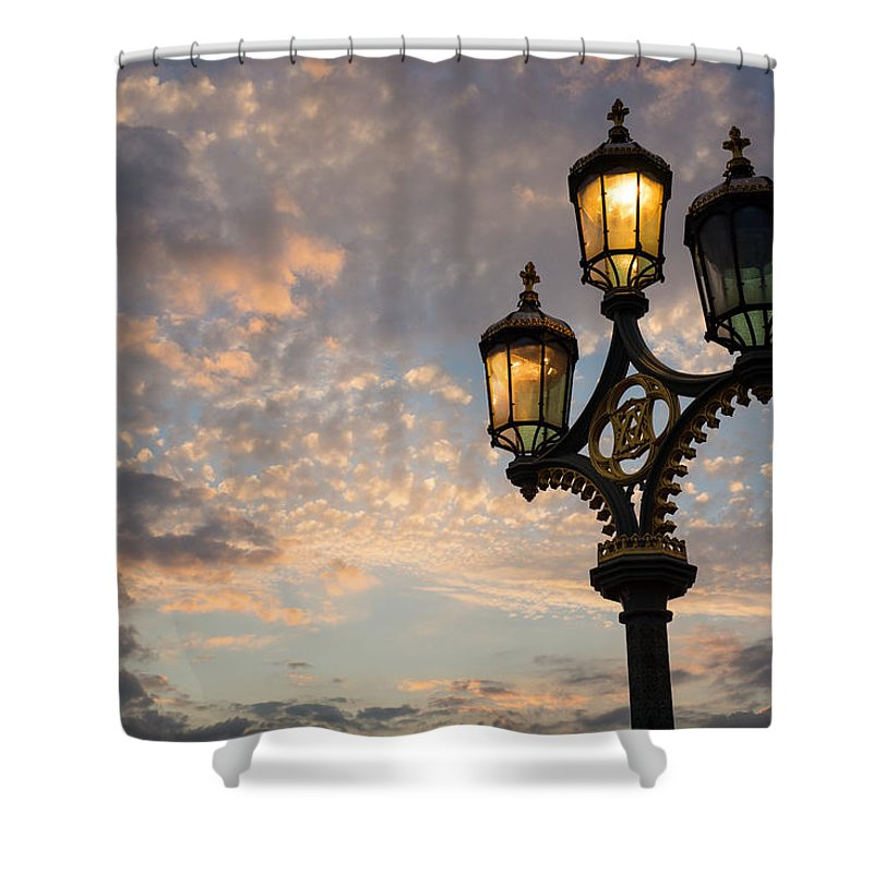 Georgia Mizuleva Shower Curtain featuring the photograph One Light Out - Westminster Bridge Streetlights - River Thames In London Uk by Georgia Mizuleva