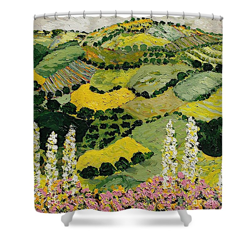 Landscape Shower Curtain featuring the painting One More Smile by Allan P Friedlander