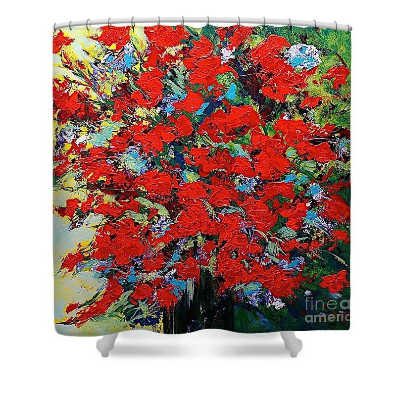 Landscape Shower Curtain featuring the painting One Of A Kind by Allan P Friedlander