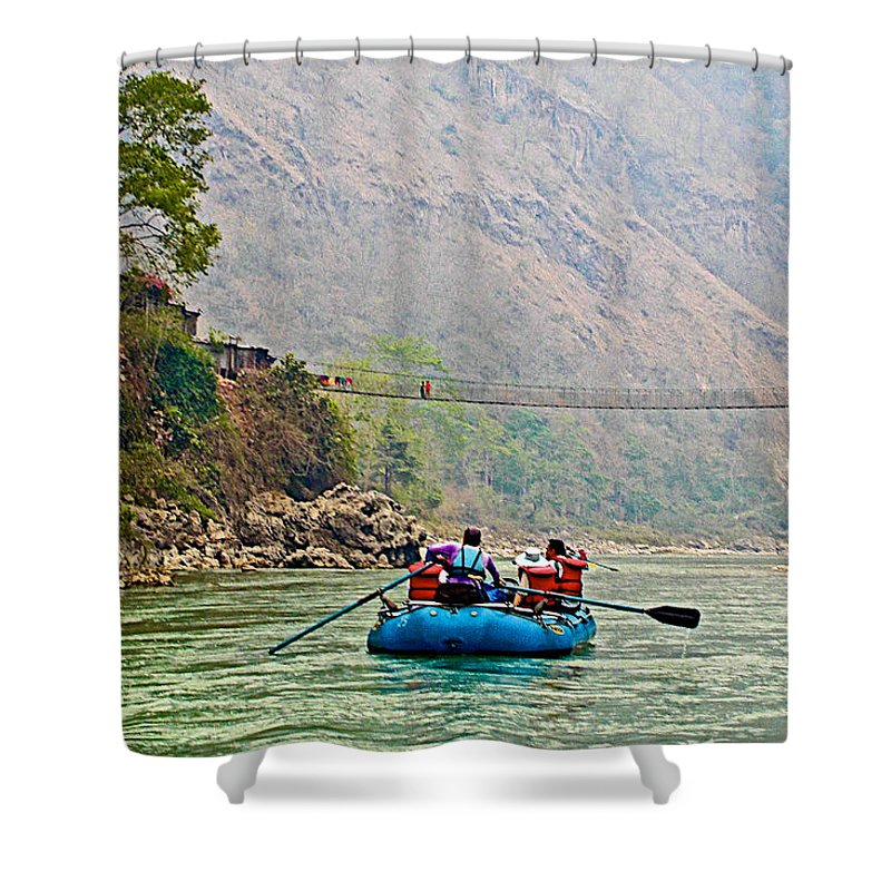 One Of Many Suspension Bridges Crossing The Seti River In Nepal Shower Curtain featuring the photograph One Of Many Suspension Bridges Crossing The Seti River In Nepal by Ruth Hager