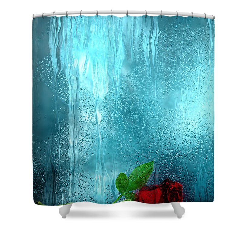 Photo Shower Curtain featuring the painting One Rose Left by Jack Zulli
