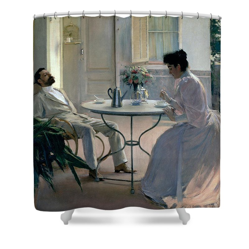 Open Air Interior Barcelona Shower Curtain for Sale by Ramon Casas i Carbo