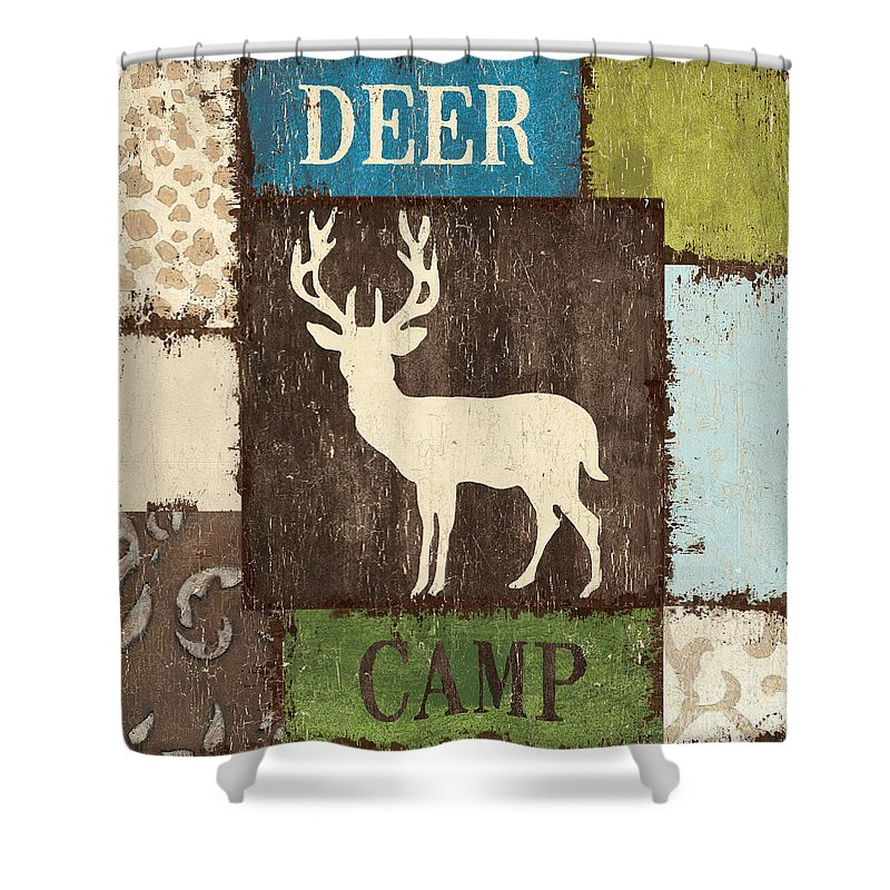 Lodge Shower Curtain featuring the painting Open Season 2 by Debbie DeWitt