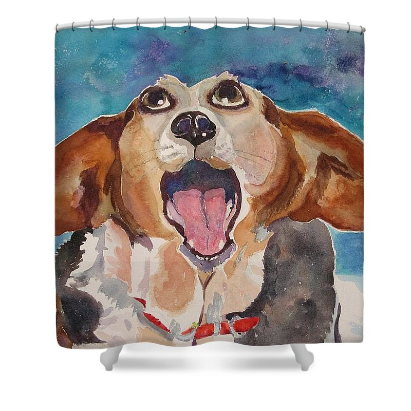 Basset Hound Shower Curtain featuring the painting Opera Dog by Brenda Kennerly