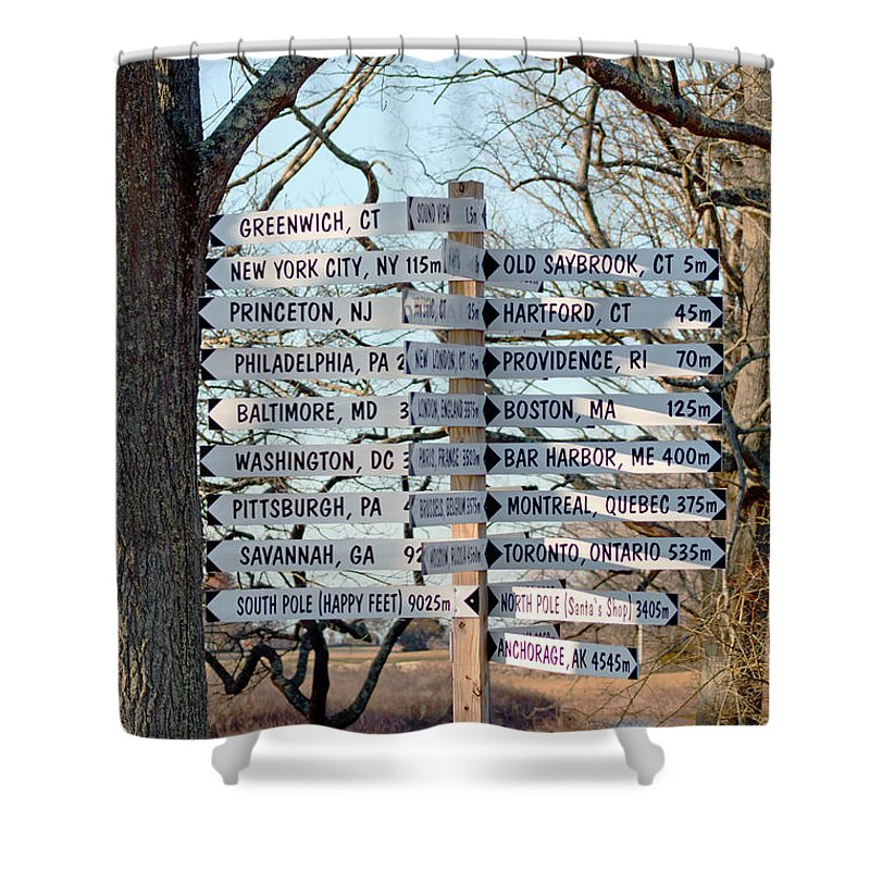 Sign Shower Curtain featuring the photograph Options by Joe Geraci