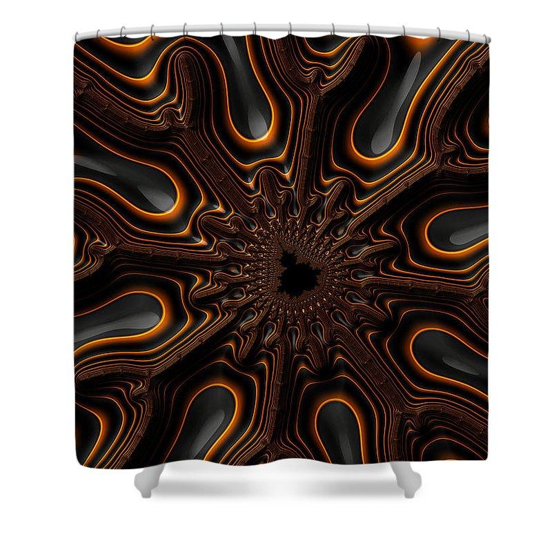 Fractal Shower Curtain Featuring The Digital Art Orange And Black Mandelbrot Artwork By Matthias Hauser