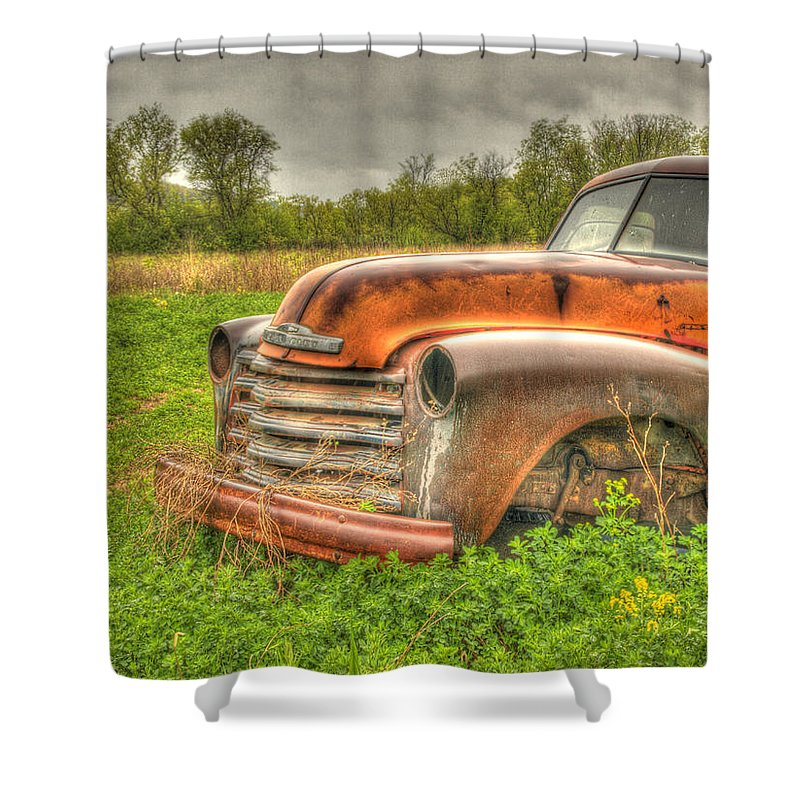 Chevrolet Truck Shower Curtain featuring the photograph Orange Chevy by Thomas Young