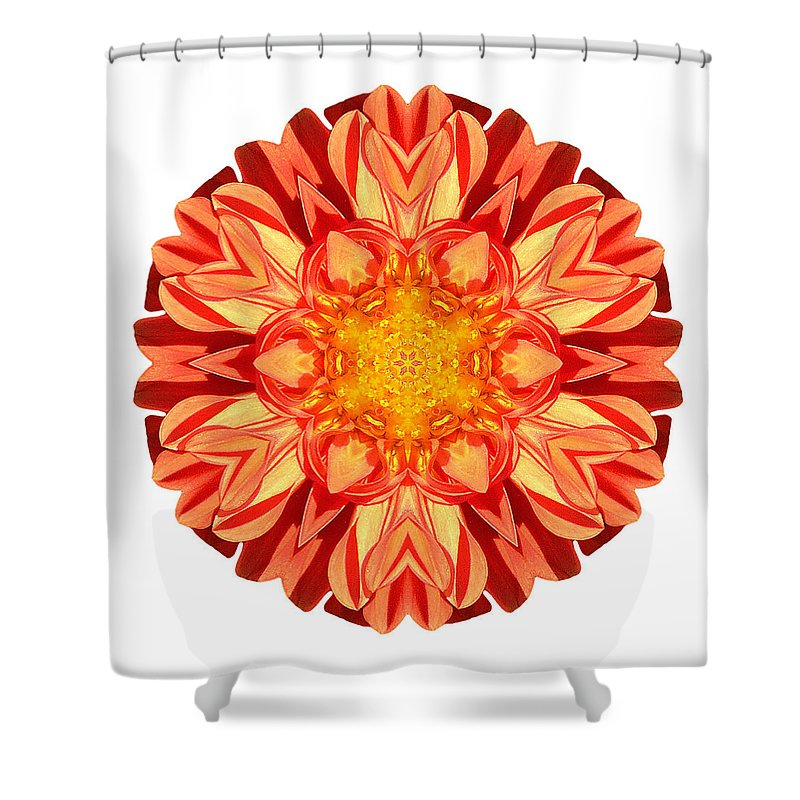 Flower Shower Curtain featuring the photograph Orange Dahlia II Flower Mandala White by David J Bookbinder