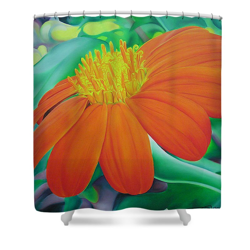 Flowers Shower Curtain featuring the painting Orange Flower by Joshua Morton