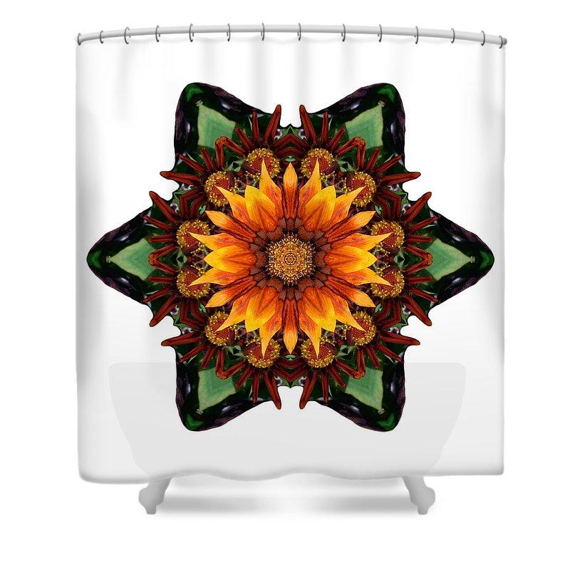 Flower Shower Curtain featuring the photograph Orange Gazania IIi Flower Mandala White by David J Bookbinder