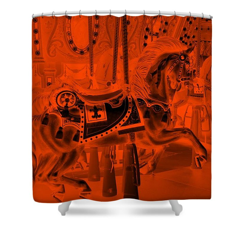 Carousel Shower Curtain featuring the photograph Orange Horse by Rob Hans