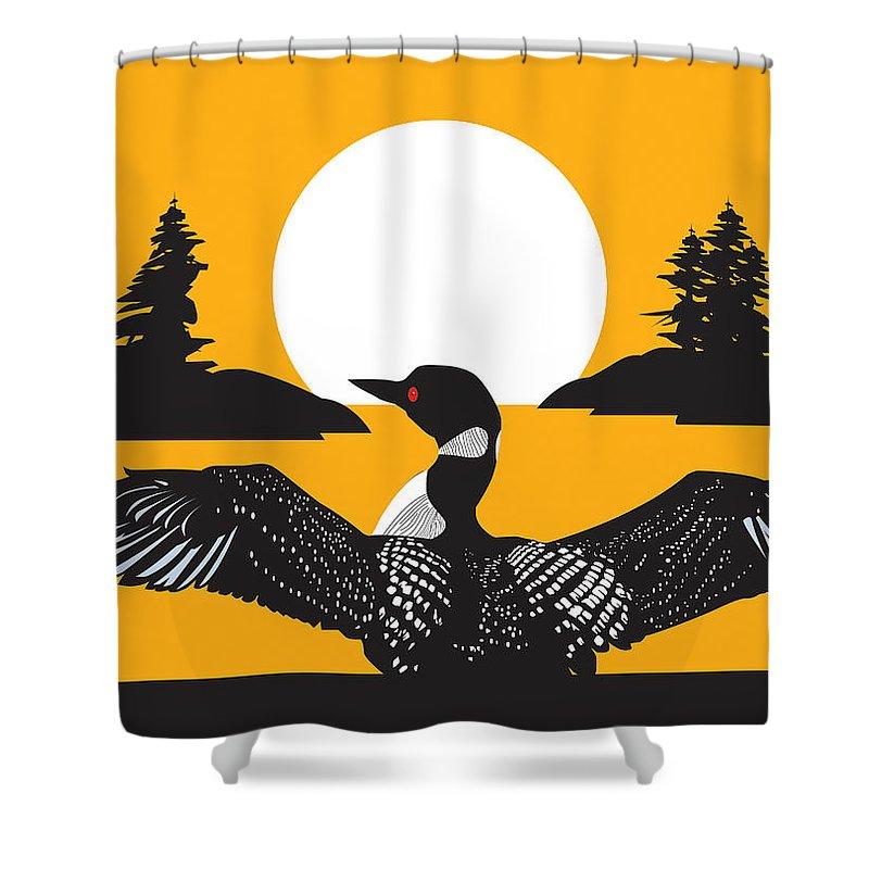 Bird Shower Curtain Featuring The Digital Art Orange Loon By Derrick Higgins