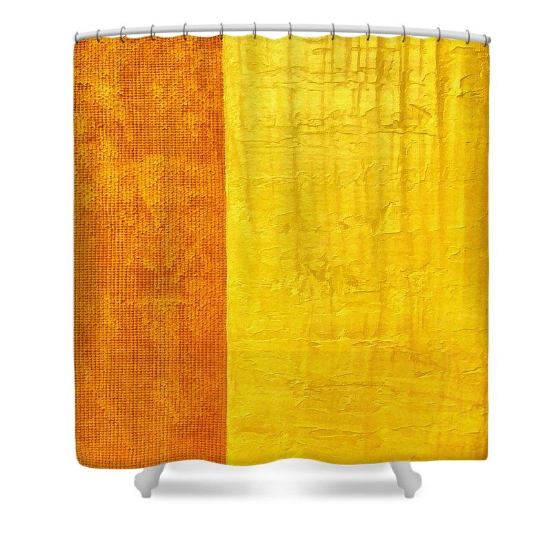 Abstract Paintings Shower Curtain featuring the painting Orange Pineapple by Michelle Calkins