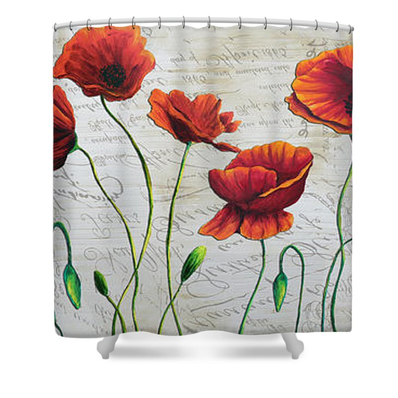 Poppy Shower Curtain Featuring The Painting Orange Poppies Original Abstract Flower By Megan Duncanson