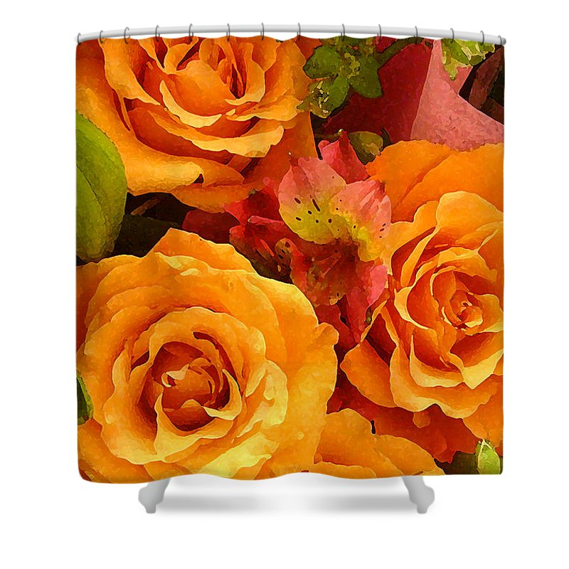 Roses Shower Curtain featuring the painting Orange Roses by Amy Vangsgard
