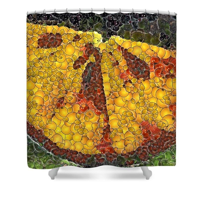 Fruits Shower Curtain featuring the digital art Orange Slice by Dragica Micki Fortuna