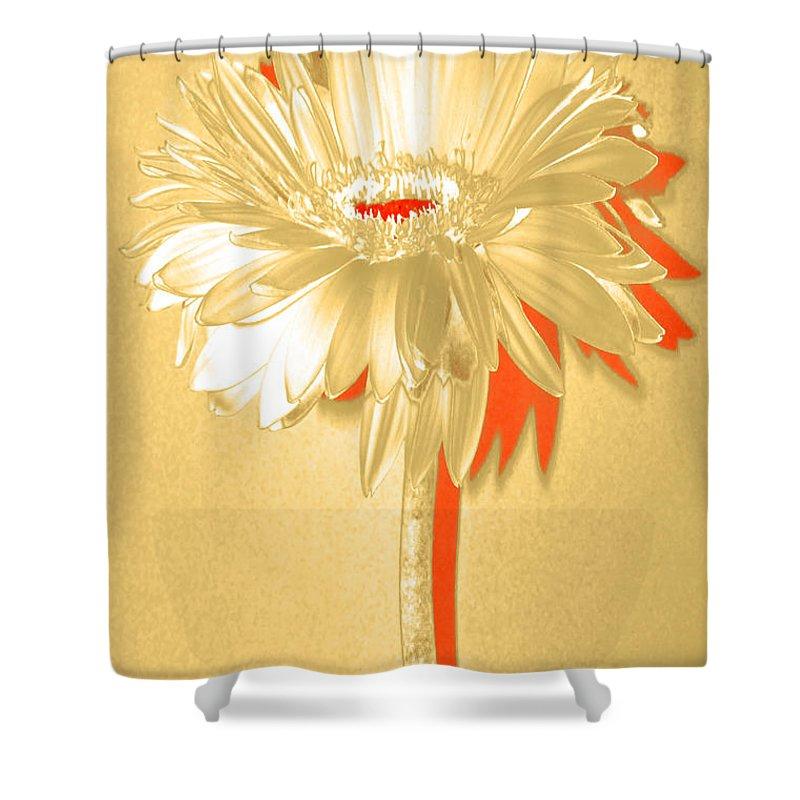 Original Photo Shower Curtain featuring the photograph Orange Slice Zinnia by Sherry Allen