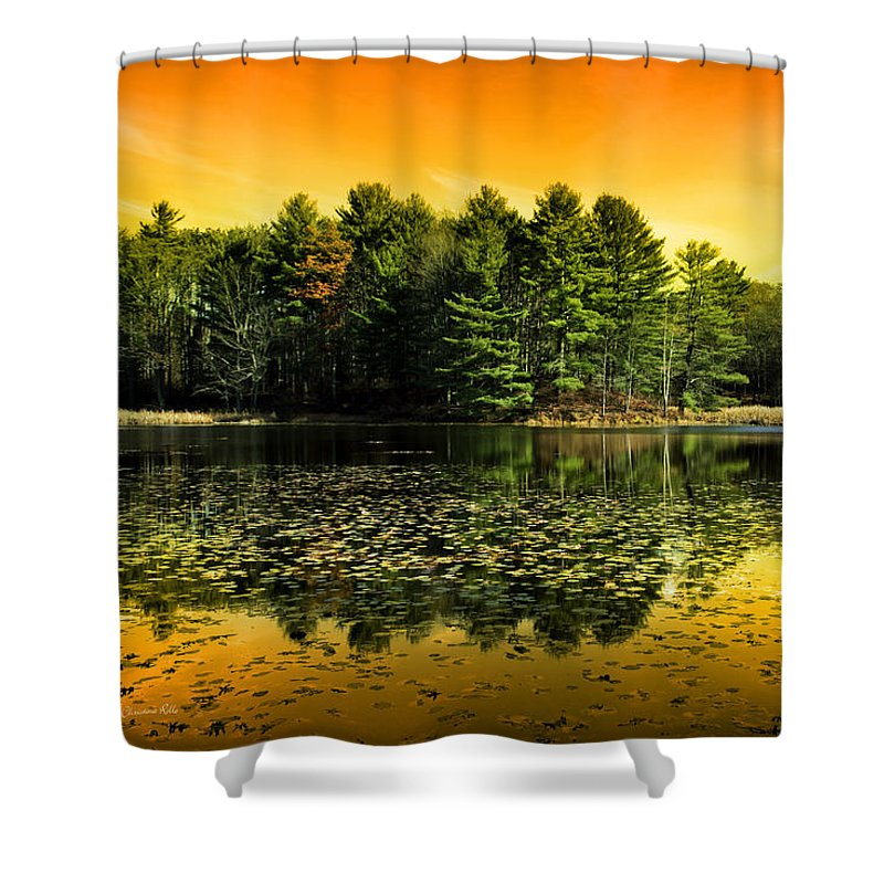 Peaceful Shower Curtain featuring the photograph Orange Sunrise Reflection Landscape by Christina Rollo