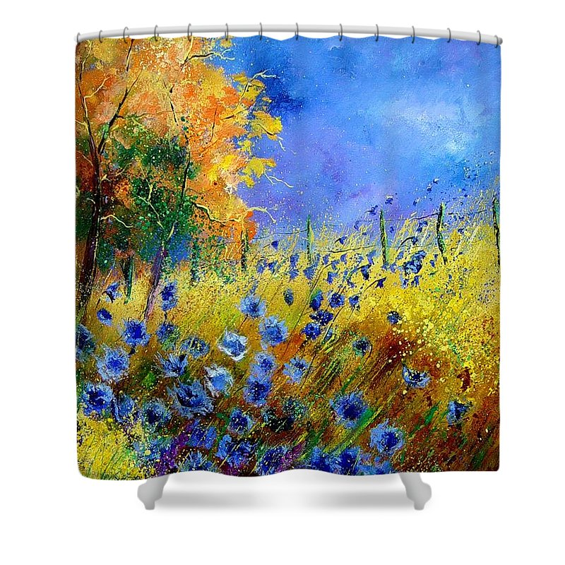 Poppies Shower Curtain featuring the painting Orange Tree And Blue Cornflowers by Pol Ledent