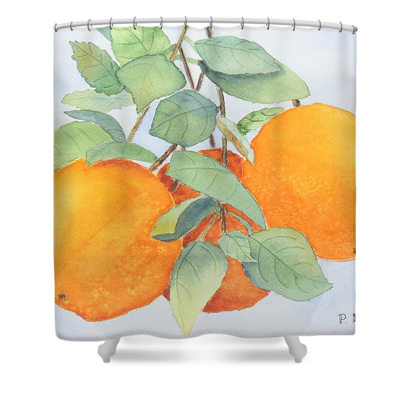 Orange Shower Curtain featuring the painting Orange Trio by Patricia Novack