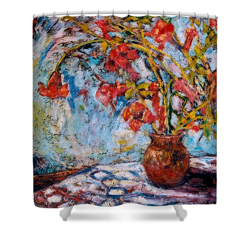 Trumpet Flowers Shower Curtain featuring the painting Orange Trumpet Flowers by Kendall Kessler