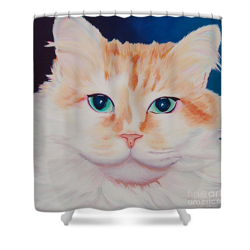 Animals Shower Curtain featuring the painting Orange White Cat Portrait by Robyn Saunders