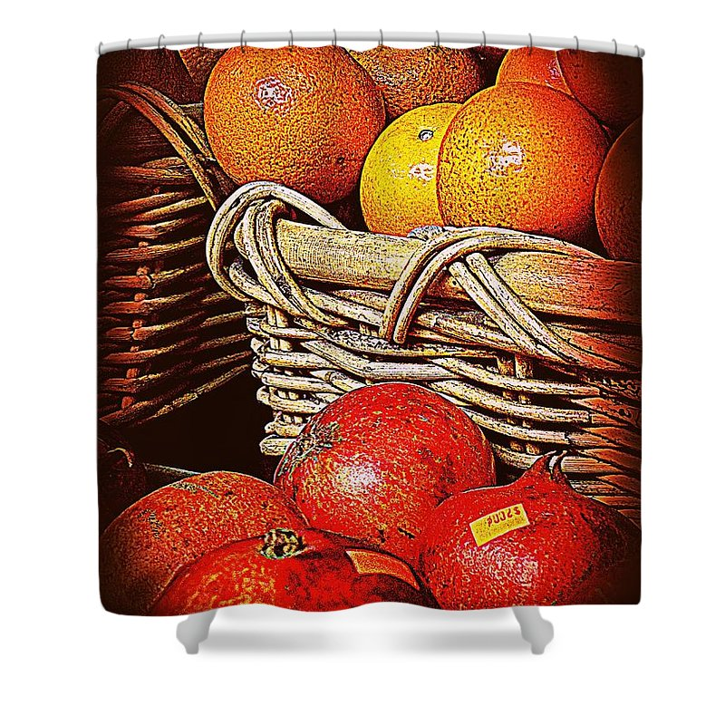 Orange Shower Curtain featuring the photograph Oranges And Persimmons by Miriam Danar