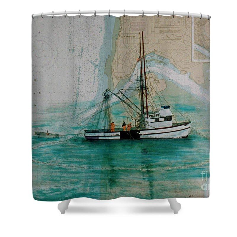 Orca Seine Fishing Boat Nautical Chart Art Shower Curtain for Sale by Cathy Peek