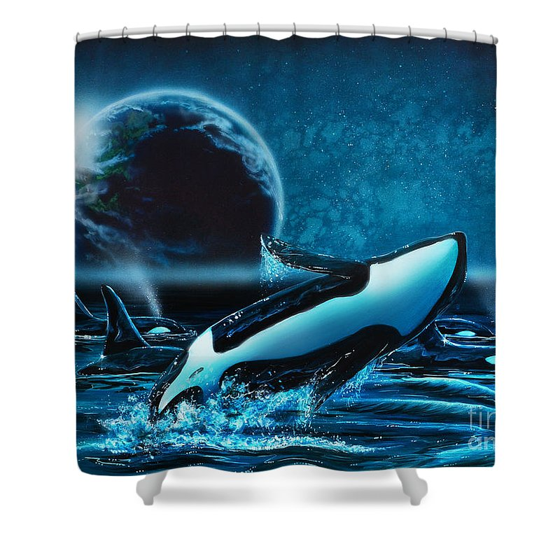 Orca Shower Curtain Featuring The Painting Orcas At Night By Lachri
