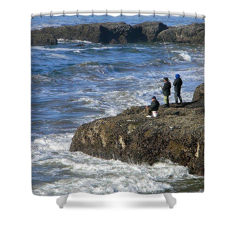 Oregon Coast Shower Curtain featuring the photograph Oregon Coast Fishermen by Gary Olsen-Hasek